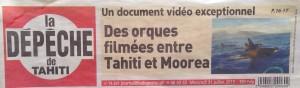 La Depeche Titre 31-07-13 Orques à Tahiti BD