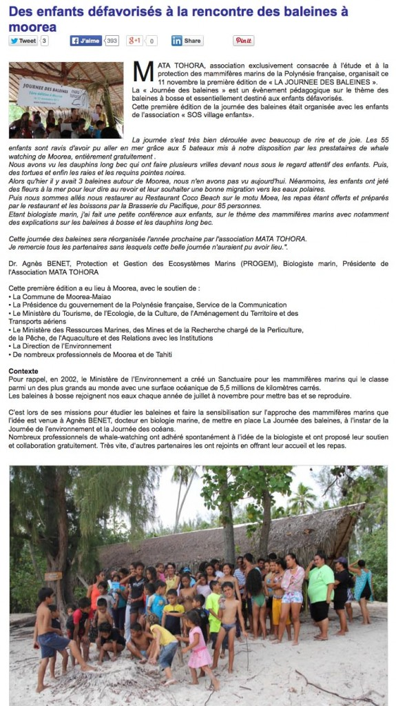 nov 2013 journee de la baleine Tahiti Infos