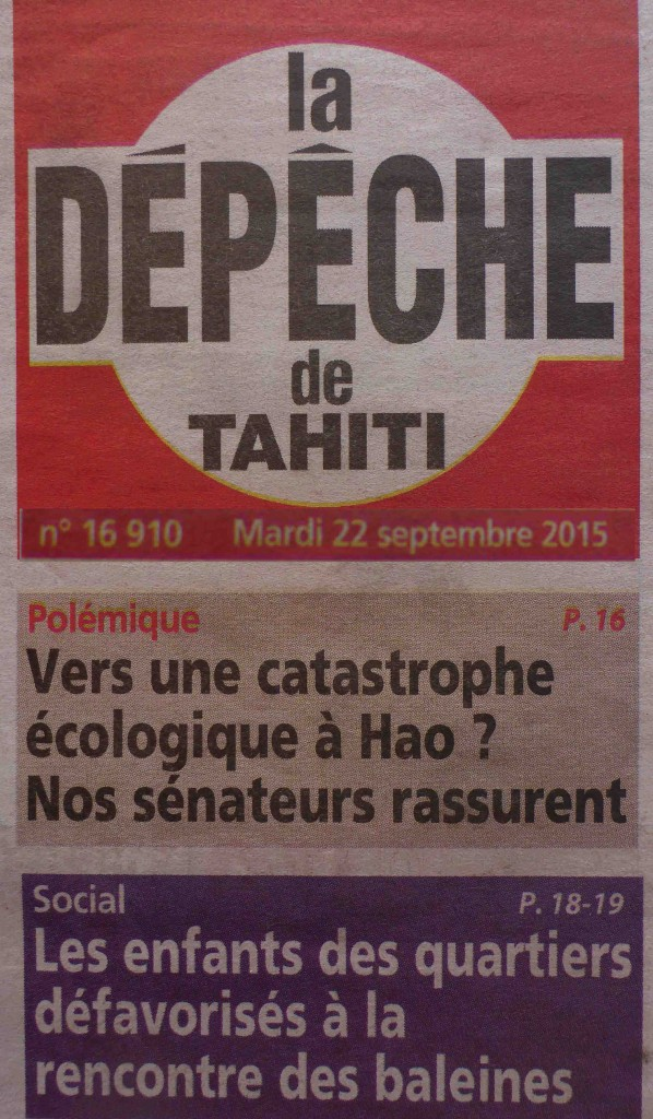 La Depeche Tahiti sept 2015 Page de couv