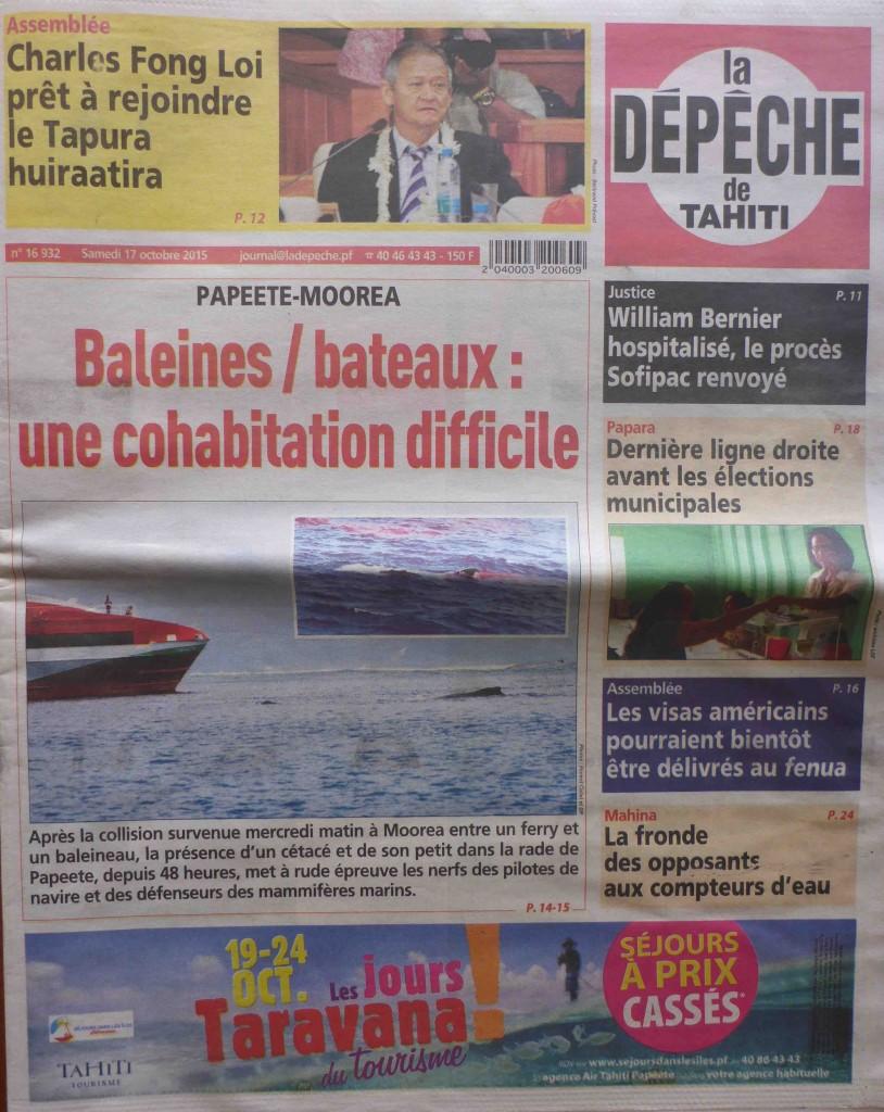 La Depeche Tahiti Baleine dans la passe de PPT page de couv