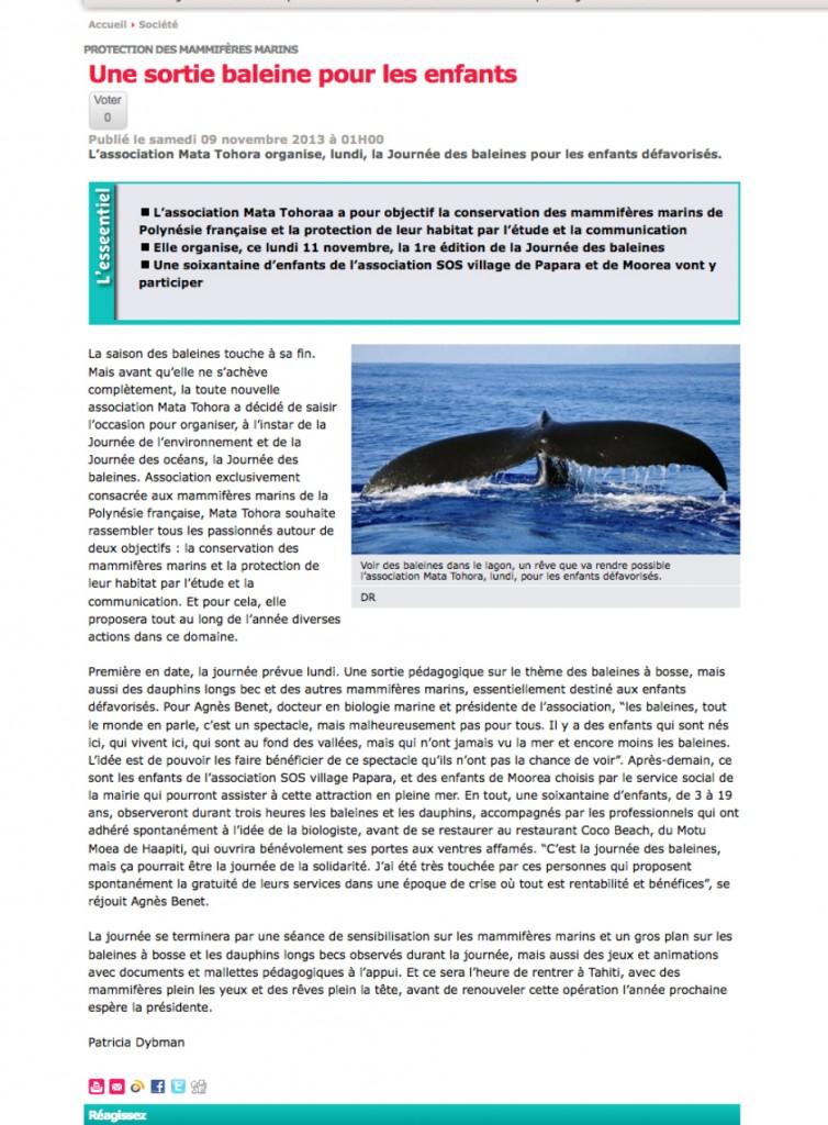 Les Nouvelles %22et voguent les baleines%22